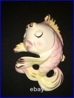 Rare Vintage Norcrest Fish W Bubbles Wall Plaque Pocket For Mermaid Bath Decor