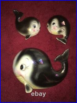 Rare Vintage Norcrest Whale Fish Family Wall Plaque Pocket For Mermaid Bath Wall