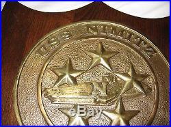 Rare Vintage USS Nimitz CVN 68 Brass Emblem Wall Plaque 10 X 13 Navy Ship Logo