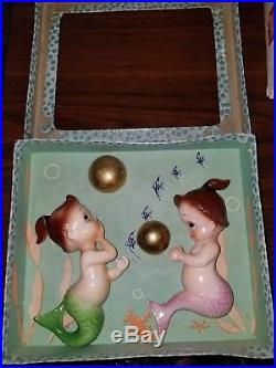 Rare vintage NOS Norcrest baby tummy mermaids wall plaques hangings 1950s