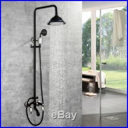 Retro Black Bathroom Wall Mount Shower Head Mixer Tub Faucet&Hand Sprayer Taps