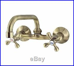 Retro Elegant Wall Mounted Antique Brass Bathroom Tap 15cm Spout Loge Luxor 5