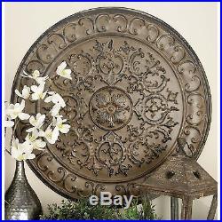Round Antique Rustic Medallion Metal Wall Art Panel Vintage Plaque Home Decor
