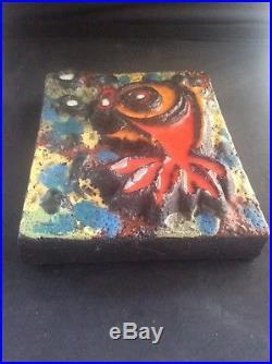 Ruscha Keramik Fat Lava Pottery Fish Wall Plaque Vintage Mid Century Modernist