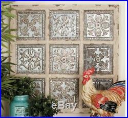 Rustic Vintage Metal Wood Wall Panel Plaque Art Decor Tile Farmhouse Kitchen
