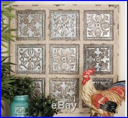 Rustic Vintage Metal Wood Wall Panel Plaque Art French Decor Distressed Tile
