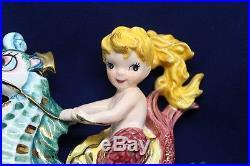 SALE Vintage Lefton Mermaid Riding Seahorse Wall Plaque Figurine