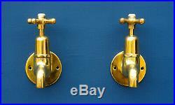 SHANKS Brass Sink Taps Wall Mounted Fully Refurbished Antique Hardware Vintage