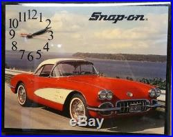 SNAP ON TOOLS Vintage Wall Clock Wood Plaque Chevy Corvette
