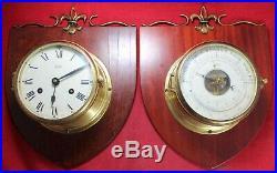 Schatz Ship-Style Brass Wall-Mount Clock & Barometer Set Vintage Parts/Repair