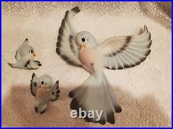 Set/3 Vintage 1950's FREEMAN McFARLIN Blue Bird Wall Plaques