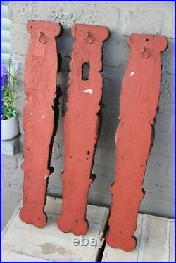 Set 3 black forest Antique wood carved Figurine lion head wall panels plaques