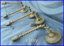 Set 4 2 pair Antique Bronze Brass Barley Twist Wall Sconces 13, 16 h Art Glass