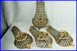 Set 4 Vintage French brass louis XVI Wall lights sconces