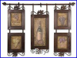Set 5 Vintage Wine Wall Decor Metal Art Frame Collage Black Iron Tuscan Large