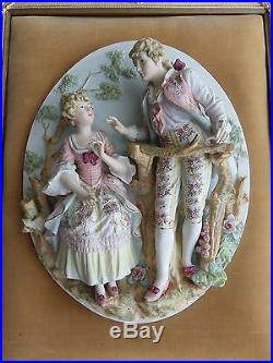 Set Of 2 Vintage Dresden Bisque Hand Painted Relief Victorian Wall Plaques