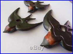 Set Of 3 Collectable Vintage Retro Ceramic Flying House Martins Wall Plaques
