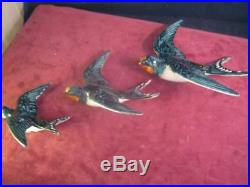Set Of 3 Vintage Beswick Swallows Wall Hanging / Plaque 757 -1 757 2 757-3