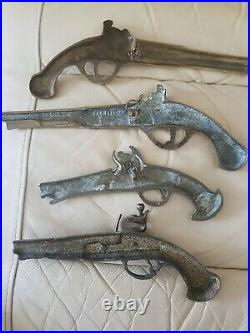 Set Of 4 Vintage Large Solid Brass Wall Pistols Heavy