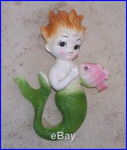 Set of 2 Vintage Napco Norcrest Mermaid Merboy with Angel Fish Wall Plaque