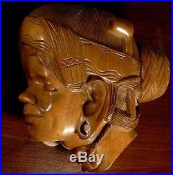 Set of 2 Vtg Mid Century Objet d'art Woman's Head Wood Carving Wall Plaques