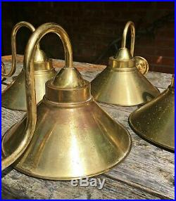 Set of 4 Gold Brass Flying Saucer Shade Vintage Wall Lights Lamps Sconces Retro