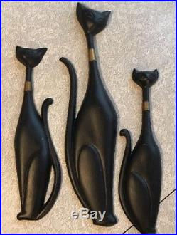 Sexton Cats Siamese Cats Wall Plaques Metal Vintage Set of 3 Mid Century