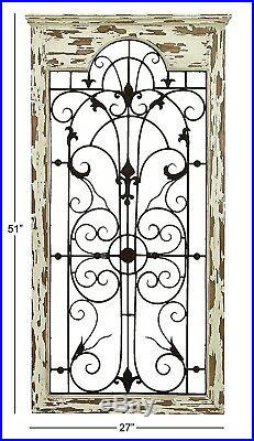 Shabby Distressed Rustic Vintage Garden Gate Arch Window Wood Metal Wall Plaque