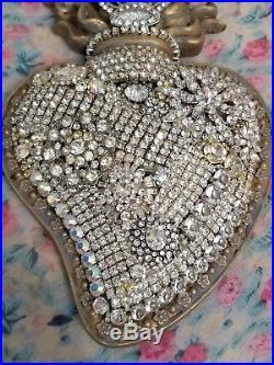 Shabby vtg Sacred HEART wall plaque rHiNesToNeS LOADED jewelry pin lot Holy