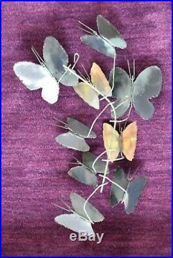 Signed Vintage Curtis Jere 1969 7 Blue Green Enamel Butterfly Wall Art Sculpture