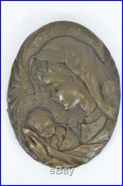 Signed Vintage Thomas Virgin Mary Holding Baby Jesus Wall Plaque Sculpture Statu