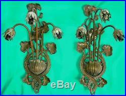 Stunning Pair of Vintage Art Nouveau Lilly 3 Light Wall Sconces Bronze/Brass