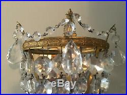Superb Pair Sparkling Vintage Lead Crystal Mirror Backed Wall Lights Rewiired