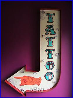 TATTOO arrow light led carnival circus fair sign vintage wedding gift VAC184