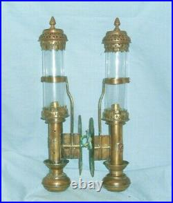 TWO VINTAGE BRASS WALL MOUNTED GWR CARRIAGE LAMPS Converted to Electric