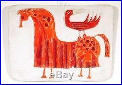 True Vintage Mid Century Bertil Vallien Horse & Bird Wall Plaque