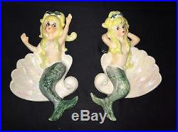 Two Vintage 7 1/4Ceramic Mermaids Sitting In A Clamshell Wall Plaque Hanging