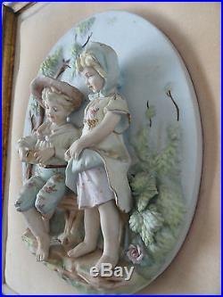 Two Vintage Victorian Children Wall hanging Plaques Pictures Porcelain 3-D