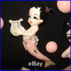 ULTRA RARE! Vintage JOTY Mermaid Mom & Baby Figurine Wall Plaque Hanging Set