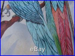 USED OLD VTG PARROTS TILE SPLASHBACK MURAL Palm WALL ART PRINT Plaque FREE SHIP