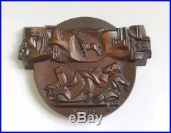 USSR Vilnius Baroque Vintage Solid Cast Iron Copper Sword Wall Plaque