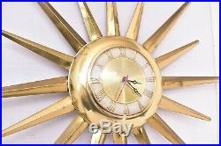 United Starburst Sunburst Vintage Mid Century modern Brass Atomic wall Clock MCM
