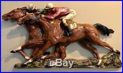 Universal Statuary Horse Racing Racehorses Jockey Wall Hanging Plaque Vntg 1966