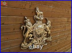 VERY LARGE ROYAL COAT OF ARMS WALL PLAQUE. Queen Crest Warrant. Brilliant Gold