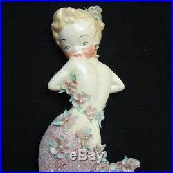 VINTAGE 1950's Chic Shabby MERMAID Mom & Baby Wall Plaque Set w Shells & Pearls