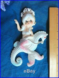 VINTAGE 1950s LEFTON Ceramic TWIN MERMAID figurines on seahorses WALL PLAQUES