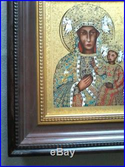 VINTAGE 24cts GOLD PORCELAIN BLACK MADONNA OF CZESTOCHOWA WALL ICON PLAQUE III