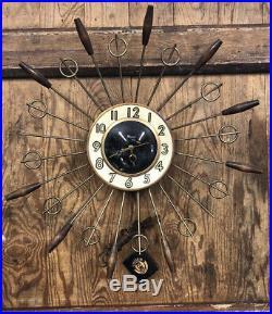 VINTAGE 60s MCM STARBURST SUNBURST CLOCK TEAK BRASS 17 NEW OLD STOCK WITH TAGS