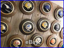 Vintage 70's Retro Round NFL Football Helmet Wall Plaque Collection