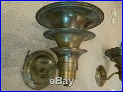 VINTAGE Art Deco Brass Tiered Electric Wall Sconces with Switch Tested 8.5x7